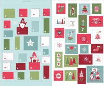 Lewis & Irene - Hygge Christmas - 5992 - Advent Calender on Aqua - C32.1 - Cotton Fabric